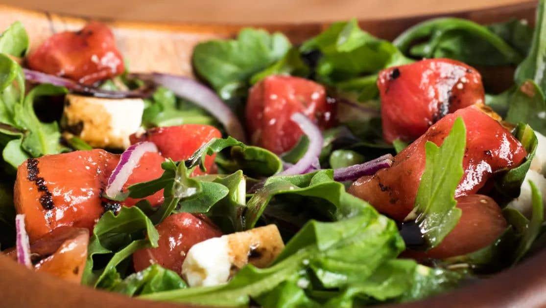 Grilled Watermelon and Feta Arugula Salad