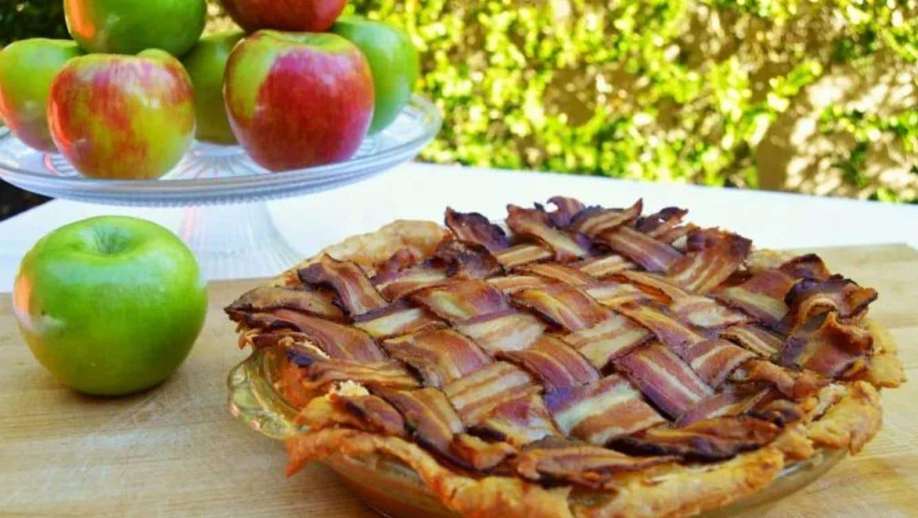 Bacon-Wrapped Maple Bourbon Apple Pie