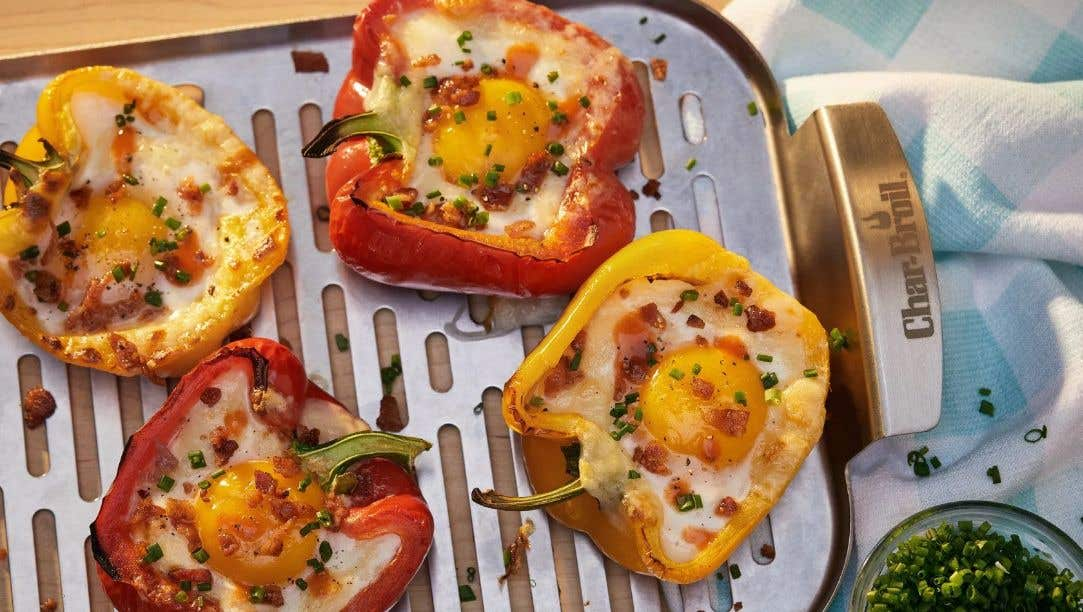 Grilled Bell Pepper with a Fried Egg
