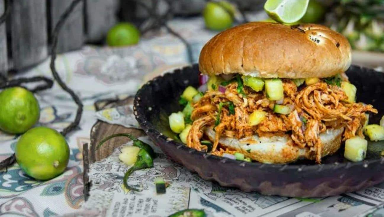 Grilled & Shredded Jerk Chicken Sandwich with Pineapple Kiwi Salsa