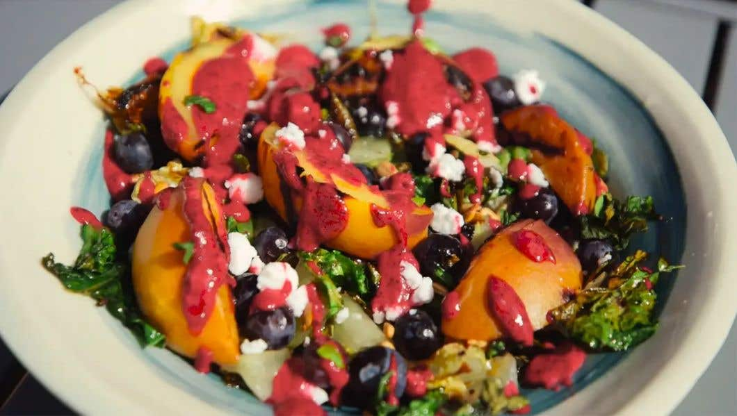 Grilled Peach, Romaine and Blueberry Salad + Ice Cream
