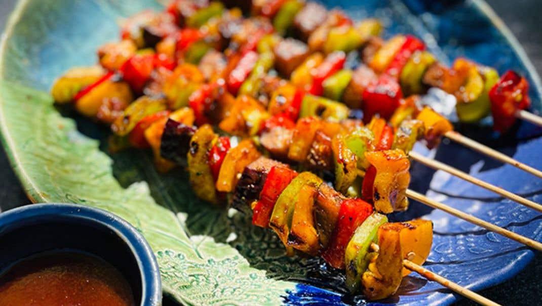 Grilled Jerk Vegetable Skewers